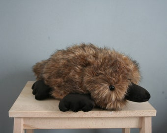 Preston platypus, fat platypus plushie made with high quality faux fur, made to order
