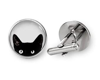 Peeking Cat Cufflinks Black Cat Cuff links (with jewelry box)