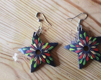 Star Shaped Wooden Earrings
