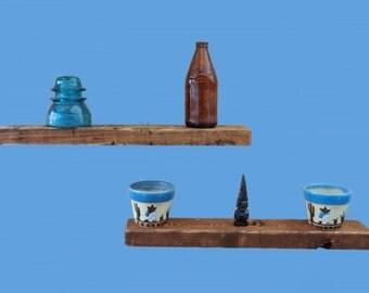 "reclaimed wood floating shelf , 20"" long-recycled frame wood #184"