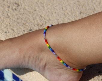 Rainbow Anklet, Minimalist  Ankle bracelet, Beach Anklet, Beadwork Jewellery,