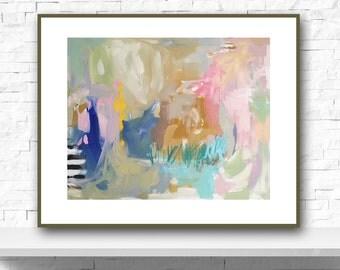 Modern Art Print , Abstract Print, 8x10, 11x14, pink, lime, aqua, marendevineart
