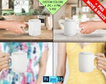 11oz White Coffee Mug in Woman Hand Closeup | Kitchen Table, Mug Display Mockup, 4 JPG scenes, PSD Smart object, Custom colors