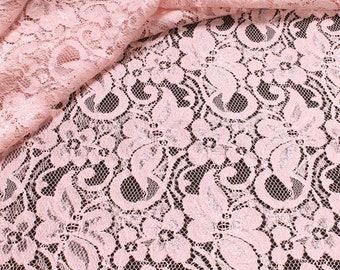 Fabric rayon polyamide lace rosy flowers fluently falling Italian manufacture