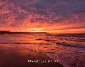 Red Bondi Beach Ocean Sunrise, Sydney, Australia. Fine Art Photography Print