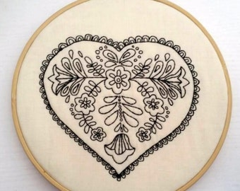 Black Lace Heart, Hoop Art, Embroidery Art, Hand-Stitched Embroidery, 7in Hoop