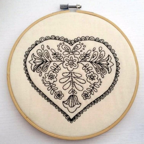Black lace heart hoop art embroidery hand stitched