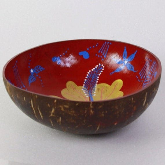 Classic Oriental Decorative Multipurpose Handmade Coconut Shell Hand Painted Bowl (PC 10)