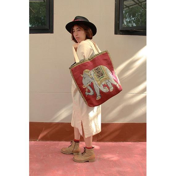 Elephants prints Cotton Canvas Zipper Market Grocery Bag Tote Handbag (HB01)