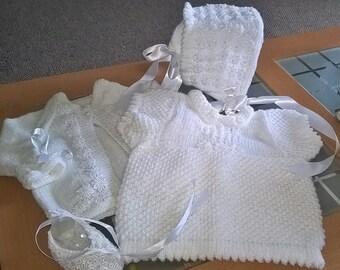 Knitting pattern - Princess range, Bonnet, Ballet Shoes, Cardi and Dress sizes 0-6mths