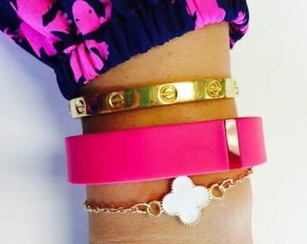 Quatrefoil, Clover, Bracelet, Gold, Gold Tone, Gift, Jewelry, Costume Jewelry, Quatrefoil Bracelet, Clover Bracelet, Gold Bracelet