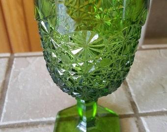 Vintage green glass goblet
