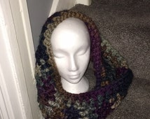 Hand crochet super chunky wool snood/scarf in autumn colours.