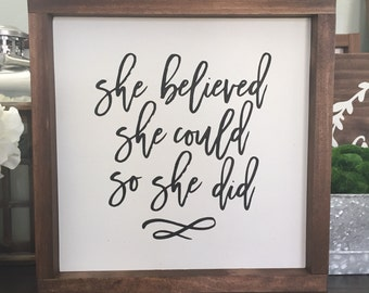 She believed she could so she did wood sign // Girls Room Decor // Nursery // inspirational // Farmhouse decor