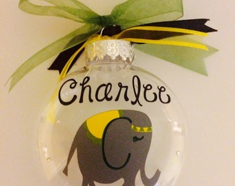 Elephant clear plastic ornament - Personalized