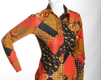 FREE US SHIPPING 70S Vintage Floral Brown Blouse