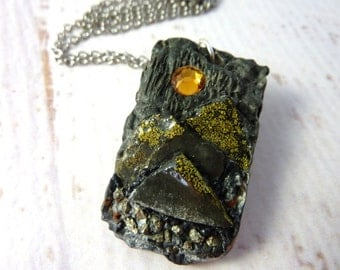 Raw stone mountain landscape necklace - resin necklace-resin and crystal necklace-resin jewelry- moonlit mountain landscape