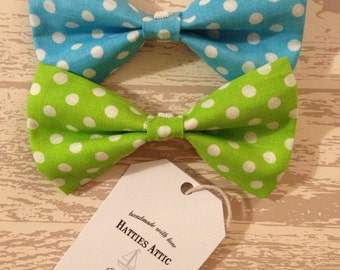 Handmade blue and green spotty dog bow ties for small/medium dogs/puppies - Pampered Pooch Collection
