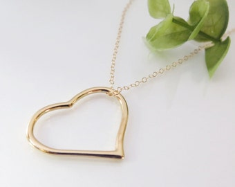 Gold Heart Necklace - Gift for Her - Gold Filled Open Heart Necklace - Simple Gold Heart Pendant - FREE SHIPPING