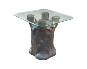 Brutalist Tree Trunk Plaster End Table with Glass Top