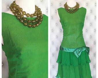 Vintage Lilli Diamond Flapper Style Green Dress Size M