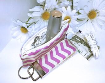 Pink Chevron Mini Key Fob and Zipper Lipstick Coin Purse Set, Earbuds Headphones Case Change Purse
