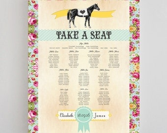 Day at the Races Equestrian Wedding Table / Seating Plan