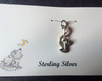 Sterling Silver Treble Clef Music Charm