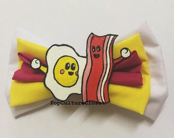 Bacon and Eggs Cute Hair Bow Clip - (We Go Together Like...)