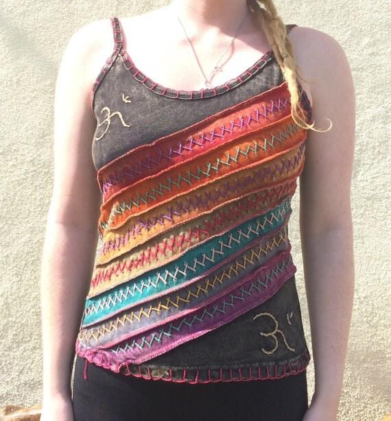 Stonewash Vest, Patchwork Slash Om Hippie Boho Summer Flower Vest Top, Flower Embroidery