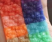 Rainbow square druzy set - 12x12mm faux druzy square Cabochons 28 pcs