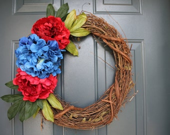 "18"" grapevine wreath, Spring/Summer 4th of July, Patriotic, blue hydrangea and red flowers, with or without initial, monogram"