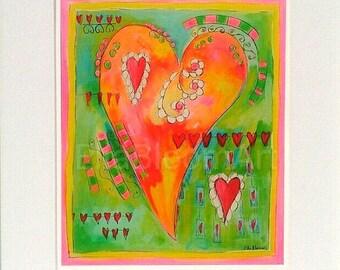 Heart print, girls print, girls heart print, heart motif print, vibrant print, vibrant heart print, teens print, teens heart print