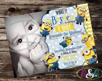 Minion Invitation. Minion Photo Invitation. Minion Party Invitation. Minion Birthday. Minion Party