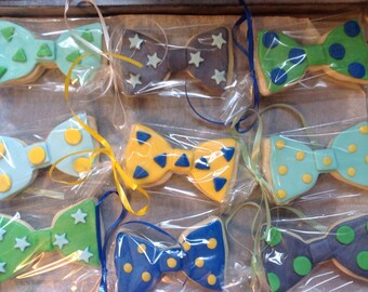 Bow Tie and Onsie Suspender  Party favor cookies (12) choose 1 style or both