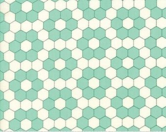 SALE!! 1 Yard Handmade by Bonnie and Camille for Moda- 55148-24 Aqua Floral Grandmothers Garden