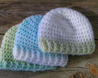 Newborn Baby Boy Hats/Beanies - Pack of 3 - **MADE TO ORDER**