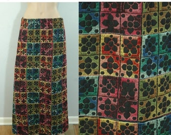 50% OFF Feb 9 - 11 50s Floral Embroidered Maxi Skirt • Size XS - Small • Vintage 1950s Colorful Flower Embroidery Skirt  [K]