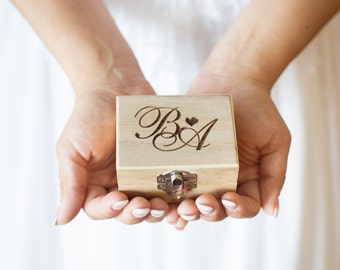 Custom engraved wooden wedding ring box
