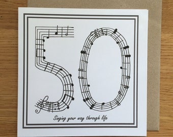 50th birthday card /music card/ singing card/ fithy