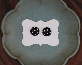 B/W Polka Dot Button Earings