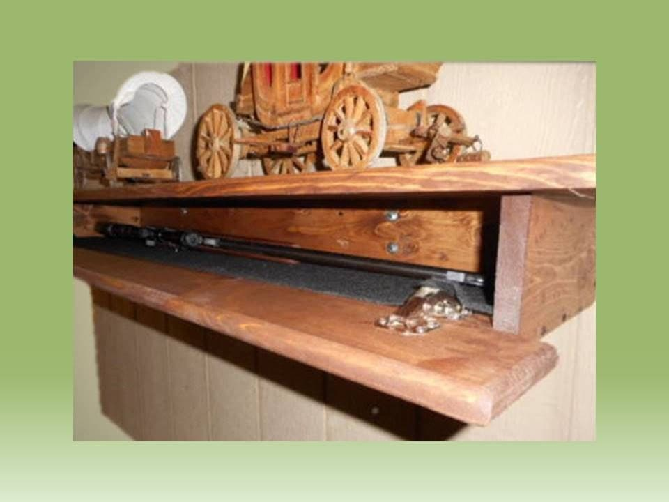 Wood Fireplace Mantle Wall Shelf Hidden Compartment Gun