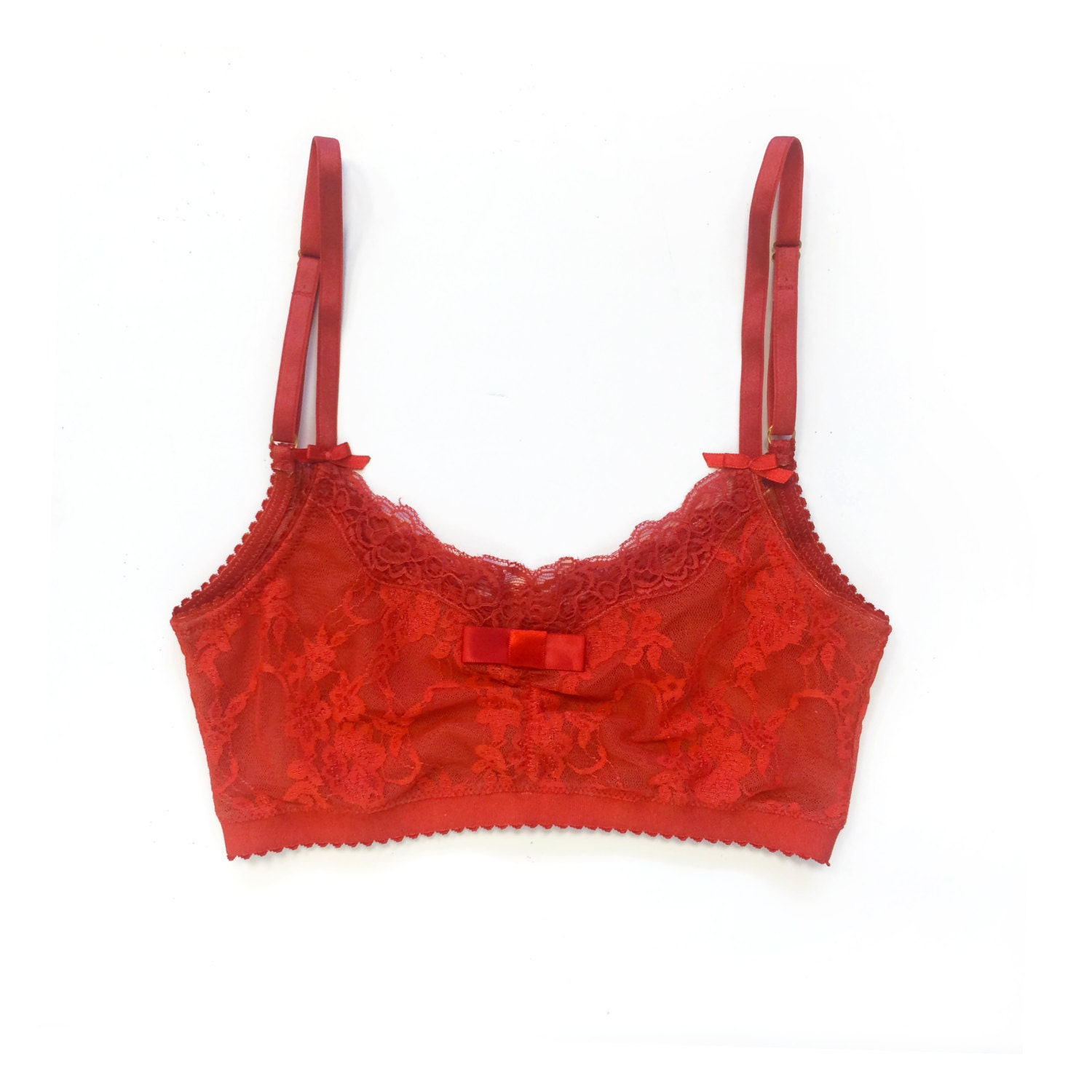 Red bralette Sheer bralette in red lace Valentine's