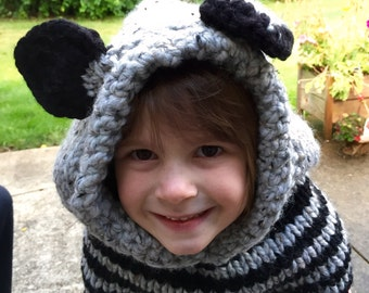 Rocky Raccoon is ready to play!  Hat, hood, cowl, photo prop, for toddlers, kids, teens, and adults too Halloween costume