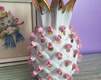 LEFTON China - Gilded PINEAPPLE VASE with Pink Roses - Rosettes - 1950s Vintage - Perfect Condition!