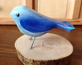 Wood Blue Bird Wooden Bird Carved Bird Blue Bird Handmade Bird Pine Bird Painted Bird Little Blue Bird Wood Bird Carving Bird Sculpture
