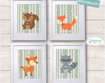 Forest friends,boys,set of 4 prints, Childrens / Art Nursery Print,  Wall Decor,  Wall Art. Can be personalised with a name.