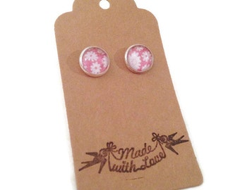 Pink Stud Earrings - Flower Earrings - Thank You Gift - Small Present - Pretty Earrings - Pink Studs - Flowery - Paper Jewellery