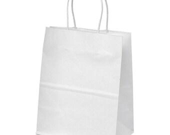 "White Kraft Paper Bags - Merchandise - Shopping - Party Favor - Gift - 10""x8"" - Handles"