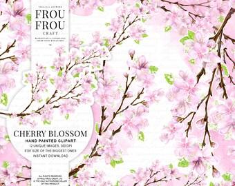 Cherry Blossom Clipart Watercokor Flowers Clip Art Sakura Illustration Wedding Floral Invitation DIY Pink Flowers Graphics Spring Set